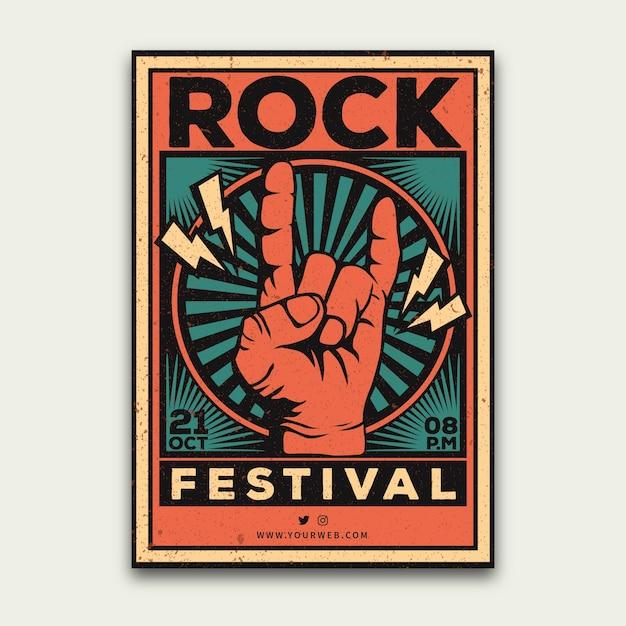 Plantilla de cartel de festival de música retro vector gratuito