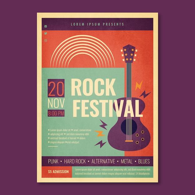 Plantilla de cartel del festival de rock retro con guitarra eléctrica vector gratuito