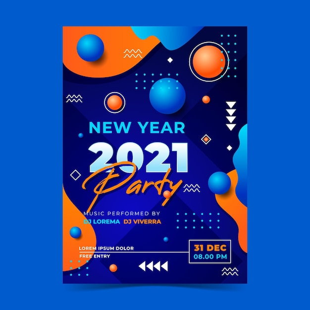 Plantilla de cartel de fiesta abstracto año nuevo 2021 vector gratuito