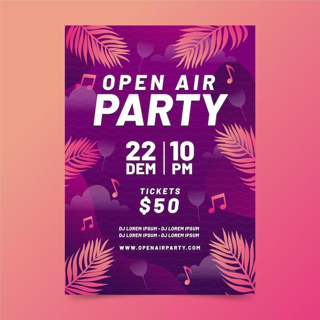 Plantilla de cartel de fiesta al aire libre con hojas vector gratuito
