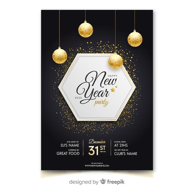 Plantilla de cartel de fiesta de año nuevo 2020 de diseño plano vector gratuito