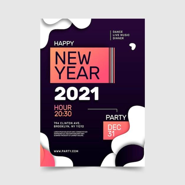 Plantilla de cartel de fiesta de año nuevo 2021 Vector Premium