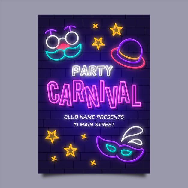 Plantilla de cartel de fiesta de carnaval de neón vector gratuito