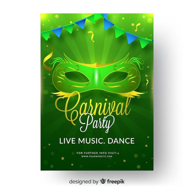 Plantilla de cartel de fiesta de carnaval vector gratuito