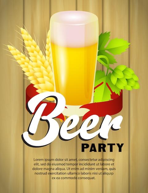 Plantilla de cartel de fiesta de cerveza con vaso de cerveza vector gratuito