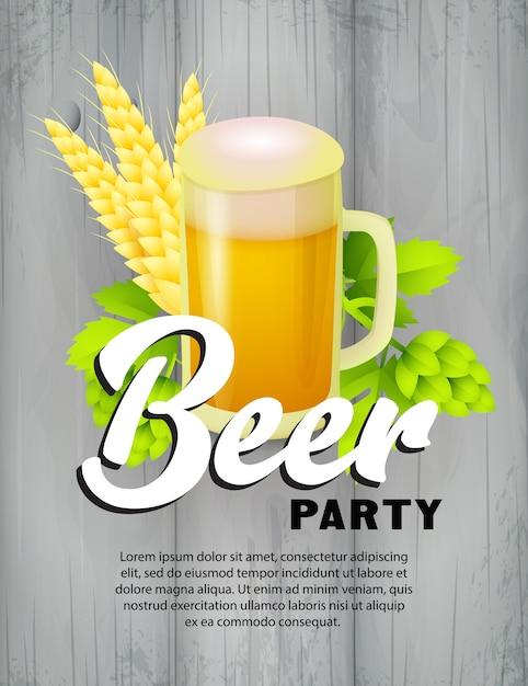 Plantilla de cartel de fiesta de cerveza vector gratuito