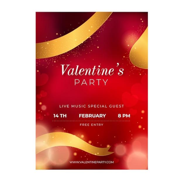 Plantilla de cartel de fiesta de día de san valentín borrosa vector gratuito