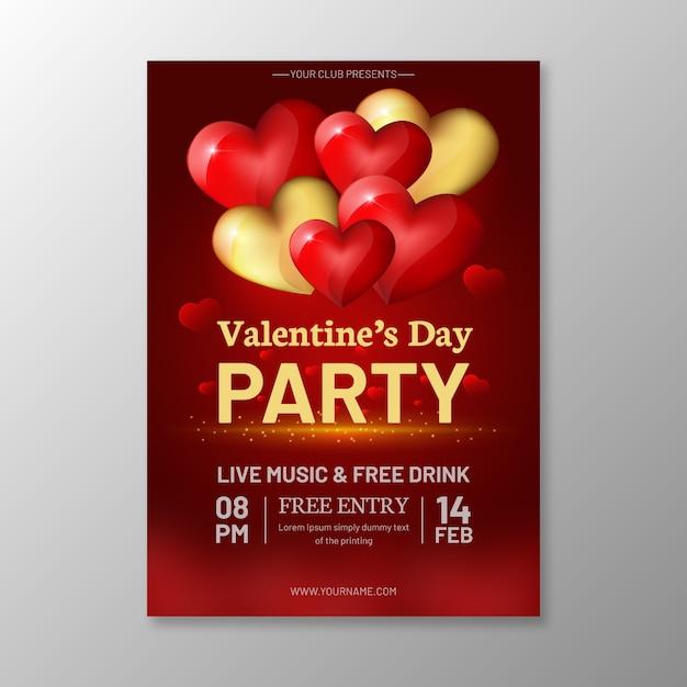 Plantilla de cartel de fiesta de día de san valentín realista vector gratuito