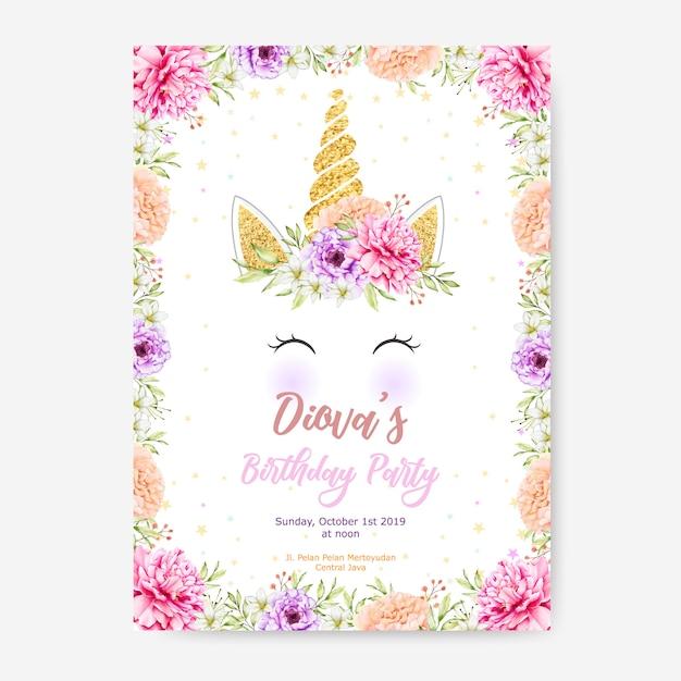 Plantilla de cartel de fiesta de feliz cumpleaños con lindo unicornio gráfico y marco de flor Vector Premium