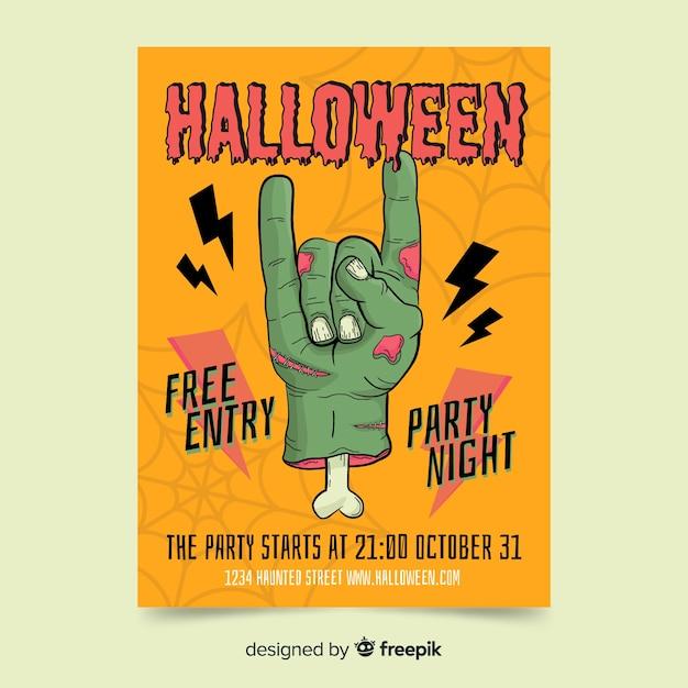 Plantilla de cartel de fiesta de halloween dibujado a mano vector gratuito