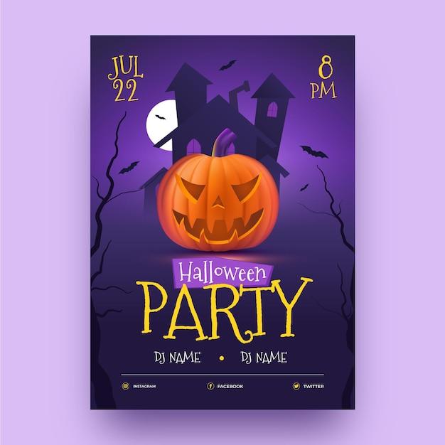 Plantilla de cartel de fiesta de halloween realista vector gratuito