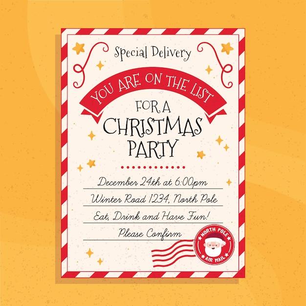 Plantilla de cartel de fiesta de navidad dibujado a mano vector gratuito