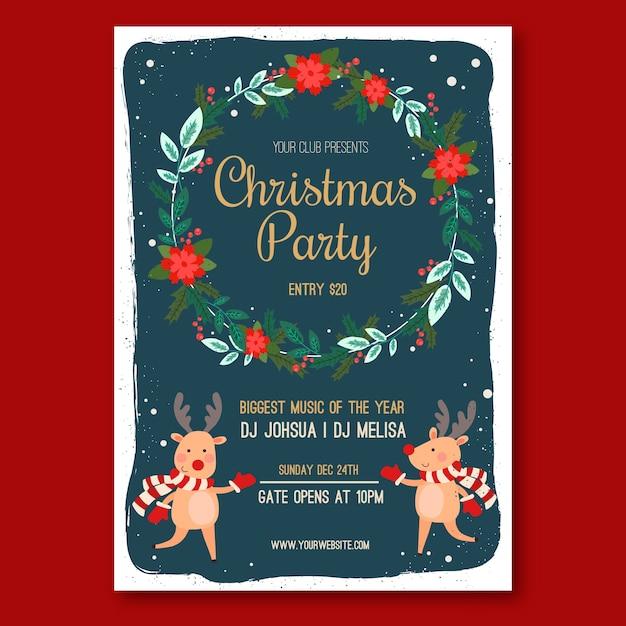 Plantilla de cartel de fiesta de navidad de diseño plano vector gratuito