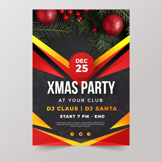 Plantilla de cartel de fiesta de navidad con foto vector gratuito