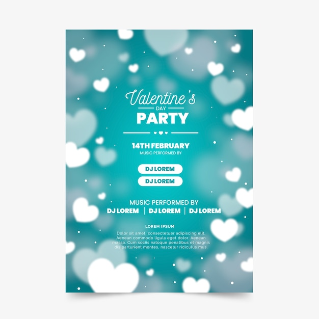 Plantilla de cartel de fiesta de san valentín borrosa vector gratuito