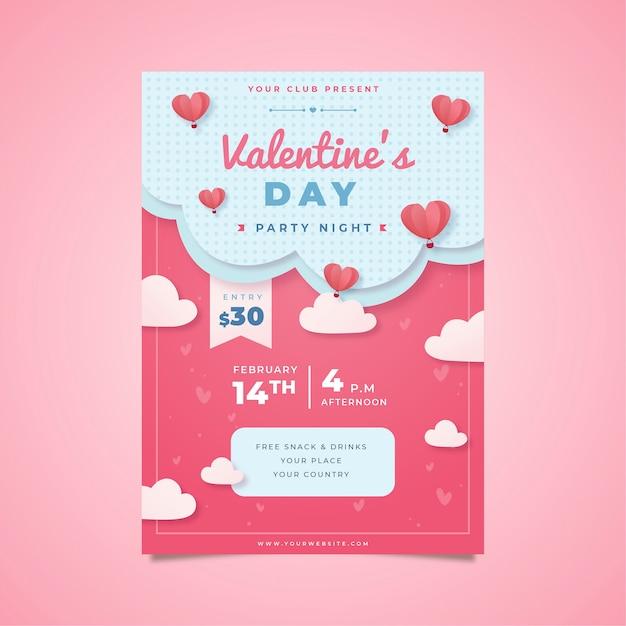 Plantilla de cartel de fiesta de san valentín de diseño plano vector gratuito