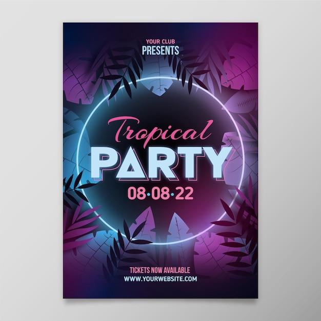 Plantilla de cartel de fiesta tropical con hojas de neón vector gratuito