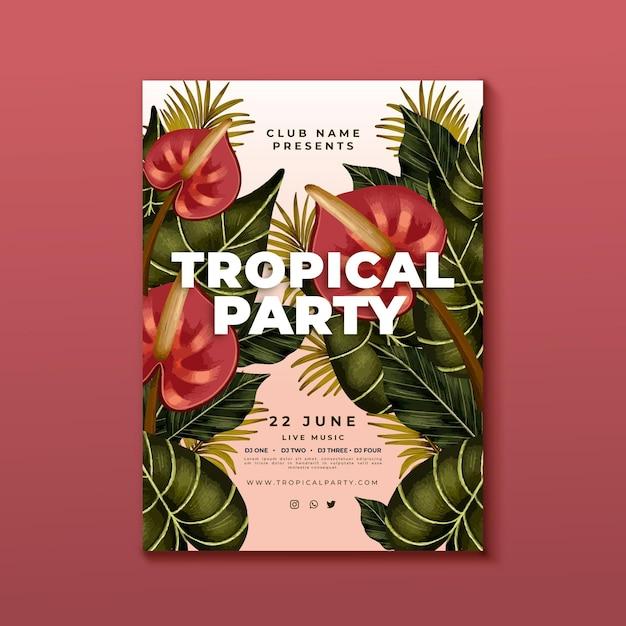 Plantilla de cartel de fiesta tropical vector gratuito