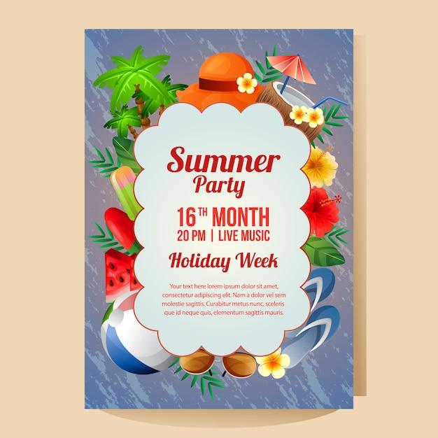 Plantilla de cartel fiesta de vacaciones de verano con objeto colorido ilustración de vector de temporada de verano Vector Premium