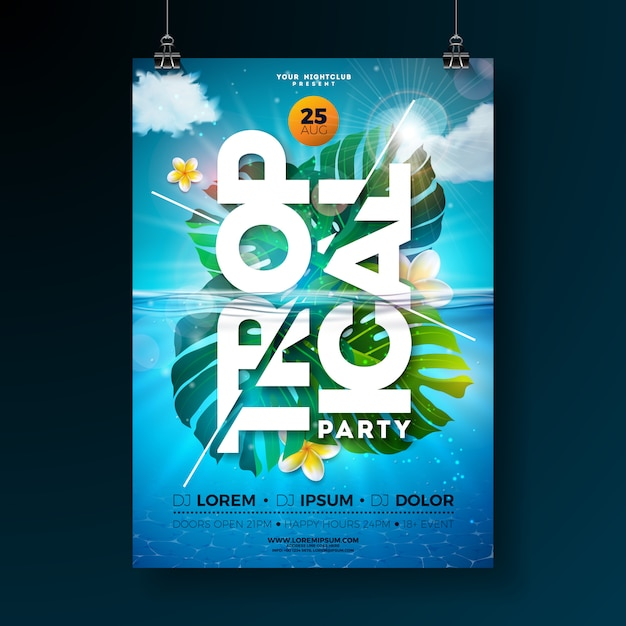 Plantilla de cartel de flyer fiesta de verano tropical con hojas de palmeras exóticas y flores Vector Premium