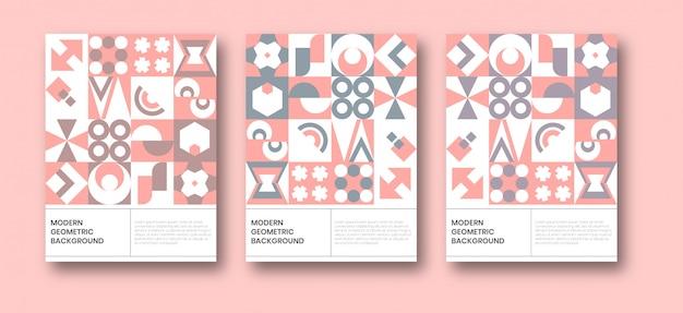 Plantilla de cartel de fondo neo geométrico bauhaus Vector Premium