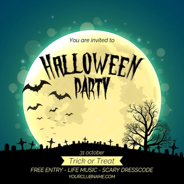 Plantilla de cartel de invitación de fiesta de halloween con bosque oscuro, cementerio y lugar para texto Vector Premium