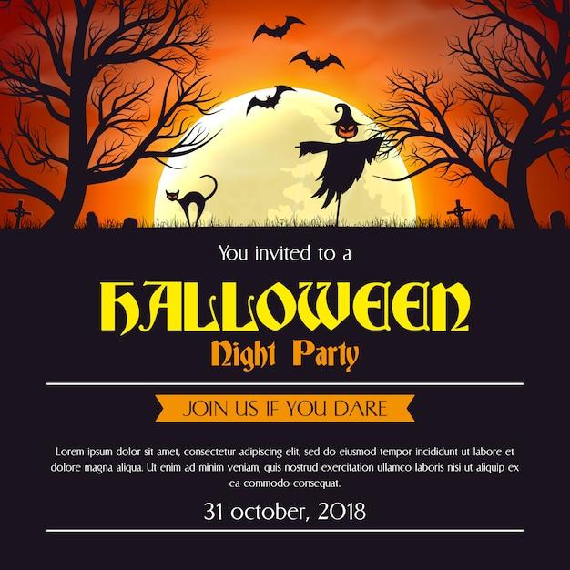 Plantilla de cartel de invitación de fiesta de halloween. Vector Premium