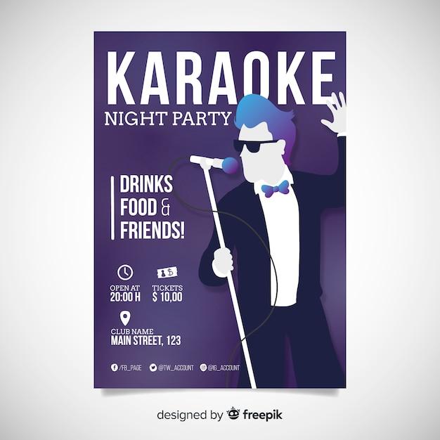 Plantilla de cartel de karaoke abstracto vector gratuito
