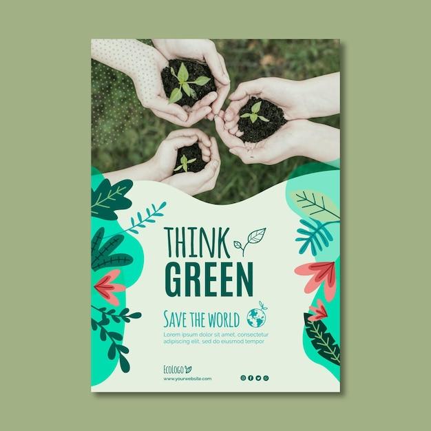 Plantilla de cartel de medio ambiente vector gratuito