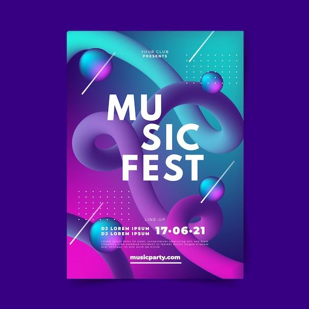 Plantilla de cartel de música degradado abstracto vector gratuito