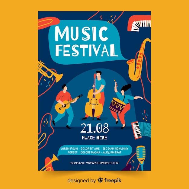 Plantilla de cartel de música dibujada a mano vector gratuito