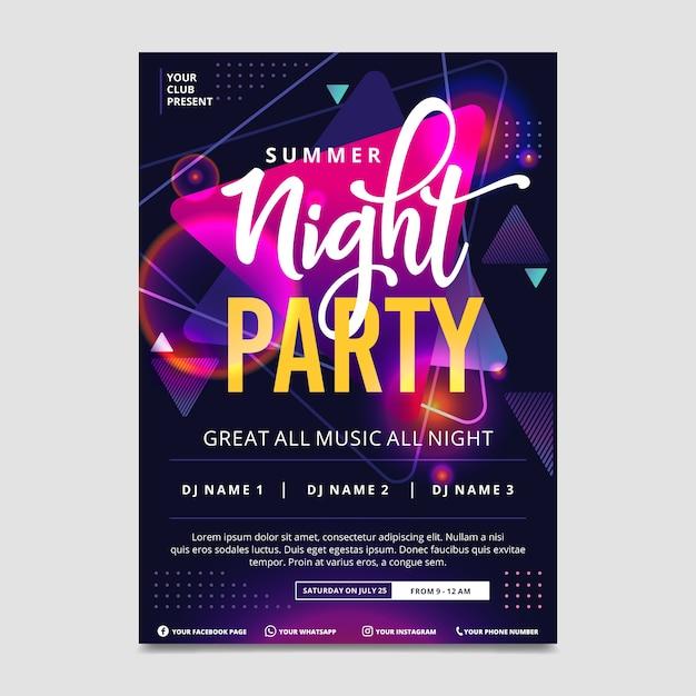 Plantilla de cartel de música de efecto de luz abstracta vector gratuito