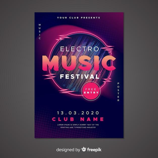 Plantilla de cartel de música electrónica abstracta vector gratuito