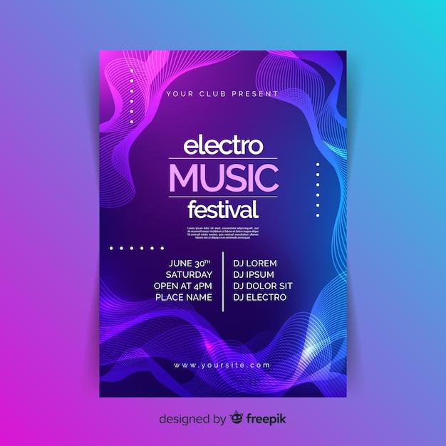 Plantilla de cartel de música electrónica abstracta Vector Premium