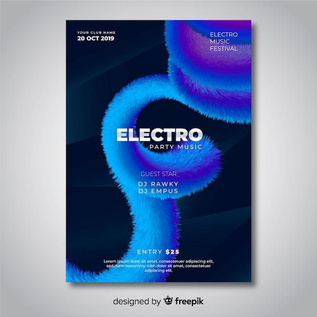 Plantilla de cartel de música electrónica de efecto 3d abstracto vector gratuito