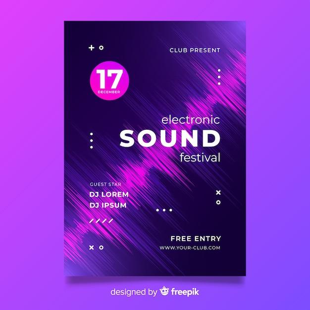 Plantilla de cartel de música electrónica de onda abstracta vector gratuito