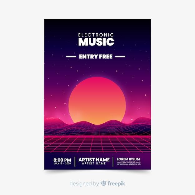 Plantilla de cartel de música futurista retro vector gratuito