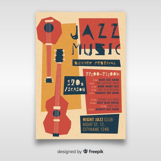 Plantilla de cartel de música jazz dibujada a mano vector gratuito