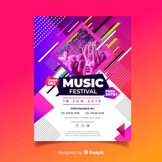Plantilla de cartel musical colorido abstracto con foto vector gratuito