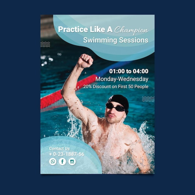 Plantilla de cartel de natación vector gratuito