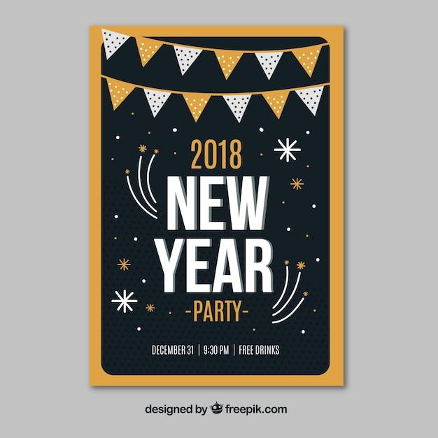 1bbc90991 Plantilla de cartel negro y dorado para fiesta de año nuevo ...