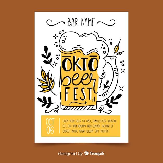 Plantilla de cartel de oktoberfest dibujado a mano vector gratuito