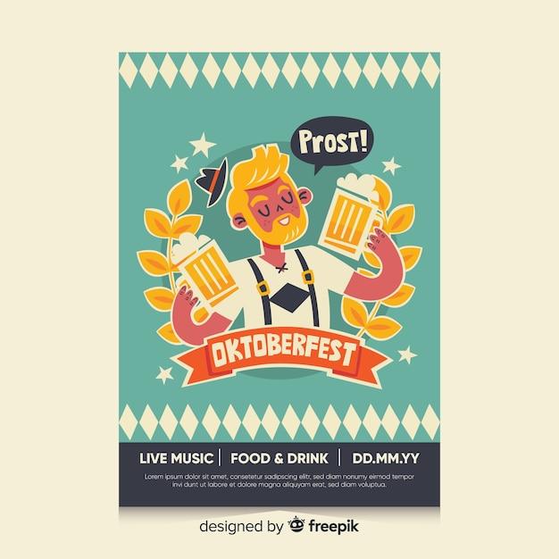 Plantilla de cartel de oktoberfest de diseño plano vector gratuito