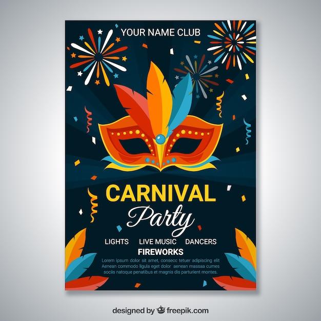 plantilla de cartel oscuro para fiesta de carnaval