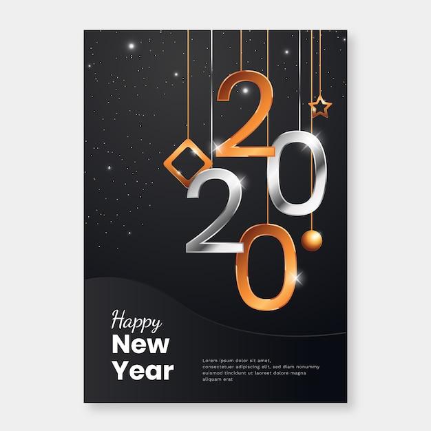 Plantilla de cartel realista año nuevo 2020 vector gratuito