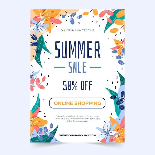 Plantilla de cartel de rebajas de verano vector gratuito