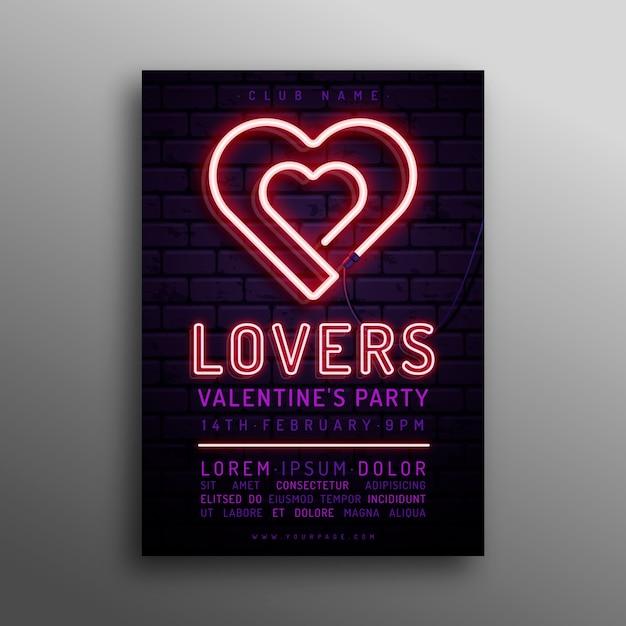 Plantilla de cartel de san valentín corazones de neón vector gratuito