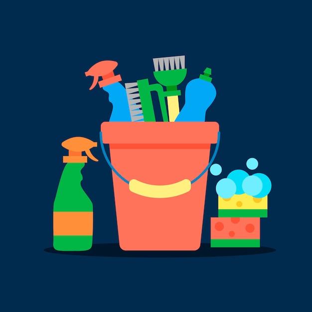 Plantilla de cartel para servicios de limpieza de casas con varios artículos de limpieza. vector gratuito