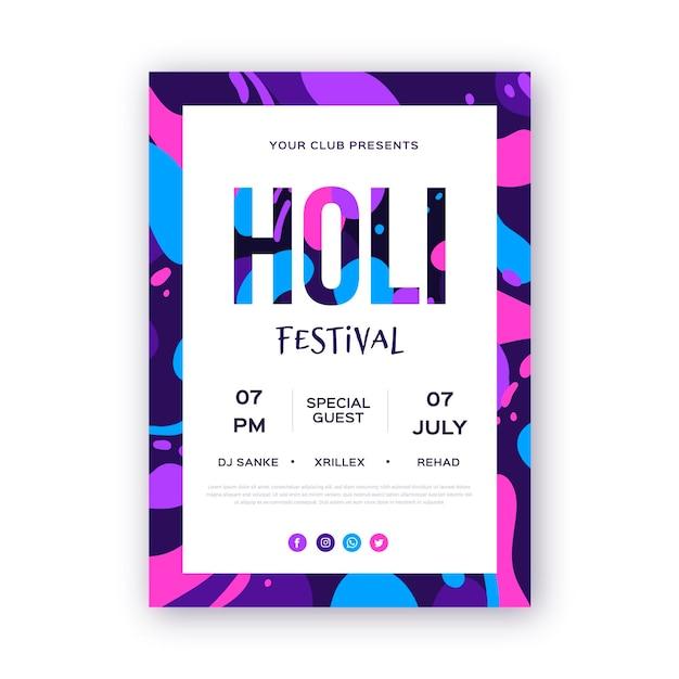 Plantilla de cartel vertical del festival holi dibujado a mano vector gratuito