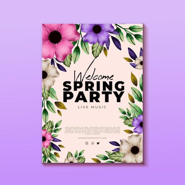 Plantilla de cartel vertical de fiesta de primavera en acuarela Vector Premium